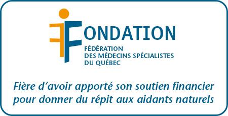 Logo Fondation des médecins spécialistes du Québec avec message