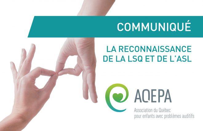 Communiqué : La reconnaissance de la LSQ et de l'ASL au Canada