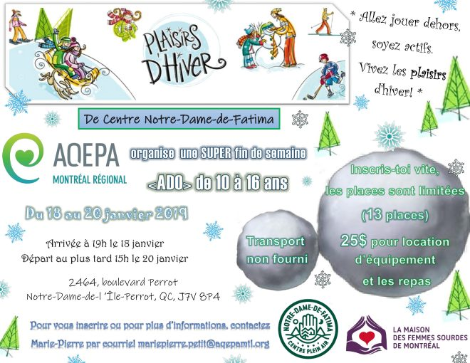 AQEPA Montréal Régional : Plaisirs d'hiver