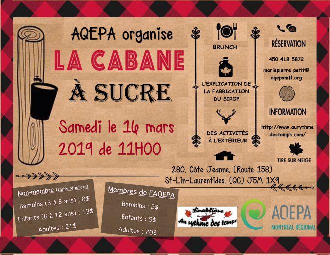 AQEPA Montréal Régional : Cabane à sucre