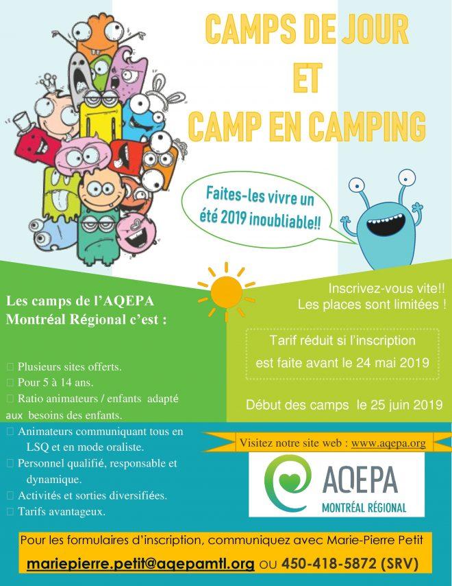 AQEPA Montréal Régional : Camps d'été 2019 !