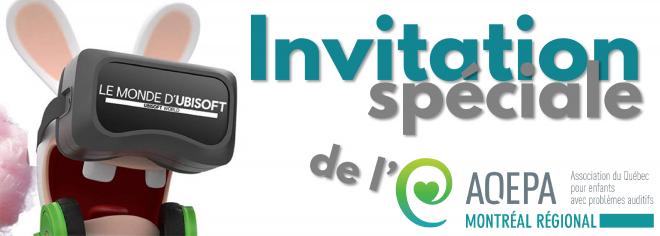 Invitation au Monde d'Ubisoft pour l'Assemblée Générale Annuelle de l'AQEPA Montréal Régional!