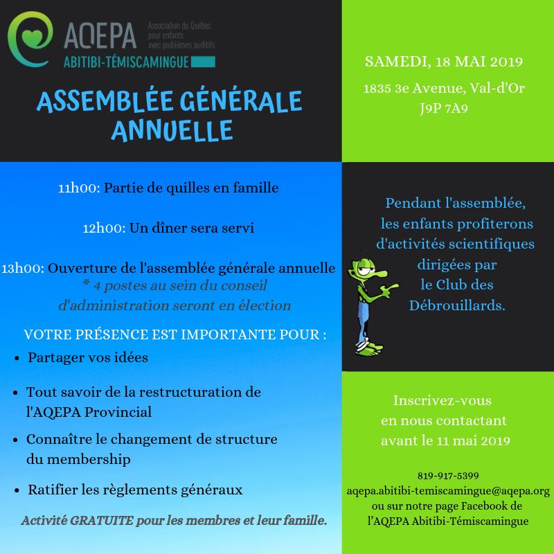 AQEPA Abitibi-Témiscamingue : Assemblée générale annuelle