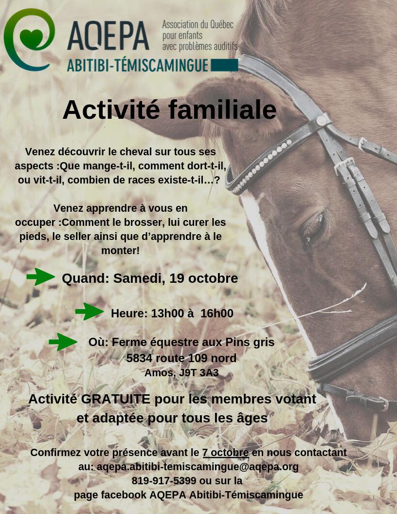 AQEPA Abitibi-Témiscamingue: Invitation ferme équestre