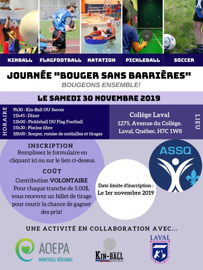"""""""Bouger sans barrières"""" avec l'AQEPA Montréal Régional et l'ASSQ"""