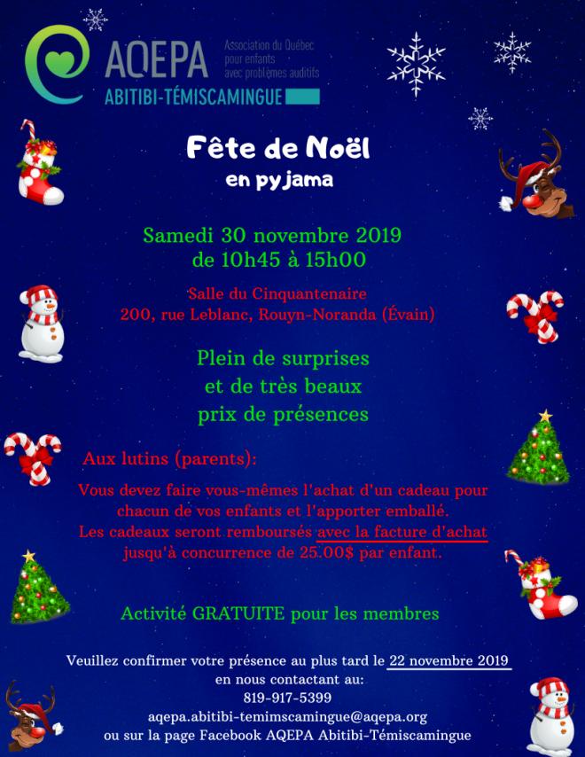 AQEPA Abitibi-Témiscamingue : Fête de Noël