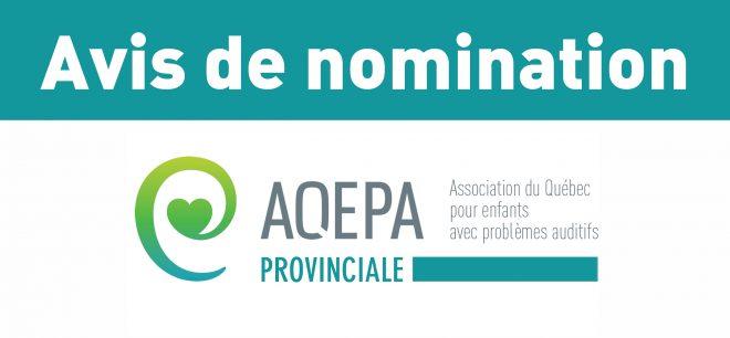 Avis de nomination : Direction générale de l'AQEPA Provinciale