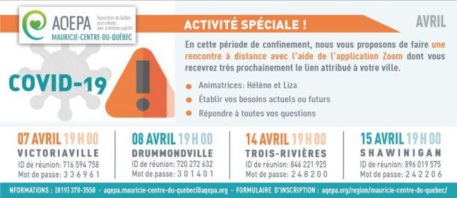 AQEPA Mauricie-C.du-Québec : Activités spéciales