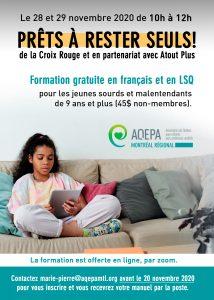 AQEPA Montréal Régional : formation Prêts à rester seuls !