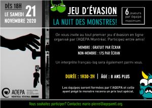 AQEPA Montréal Régional : Jeu d'évasion en ligne