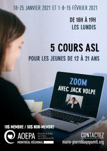 AQEPA Montréal Régional : Cours ASL en ligne