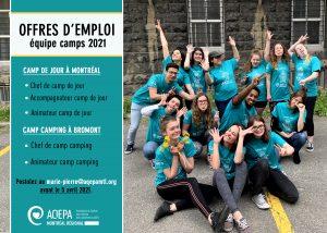 AQEPA Montréal Régional : Offres d'emploi camps d'été 2021