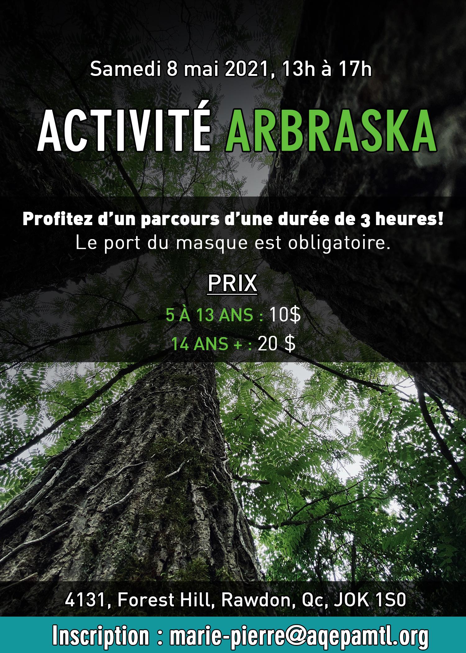 AQEPA Montréal Régional : Activité Arbraska