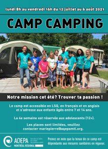 AQEPA Montréal Régional : Inscriptions camps 2021